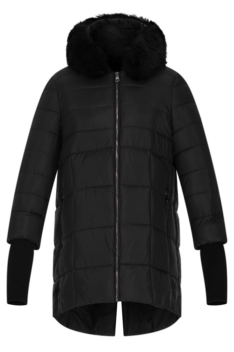Pikowana kurtka damska Fly czarna z kapturem i futerkiem