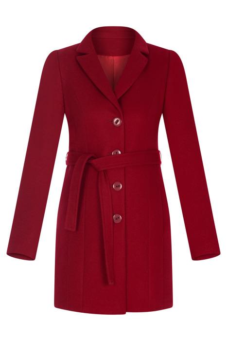 Płaszcz Huna Joanna czerwony wiązany z paskiem i guzikami
