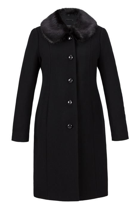Płaszcz damski zimowy Ela czarny z kołnierzem odpinanym z wełną