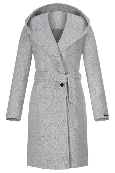 Płaszcz damski zimowy Moris Pamela szary melanż wiązany z paskiem