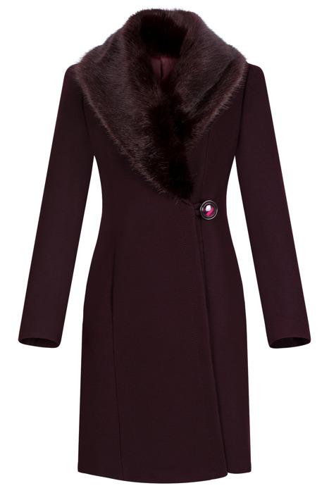 Płaszcz damski zimowy Szalowy bordowy z wełną