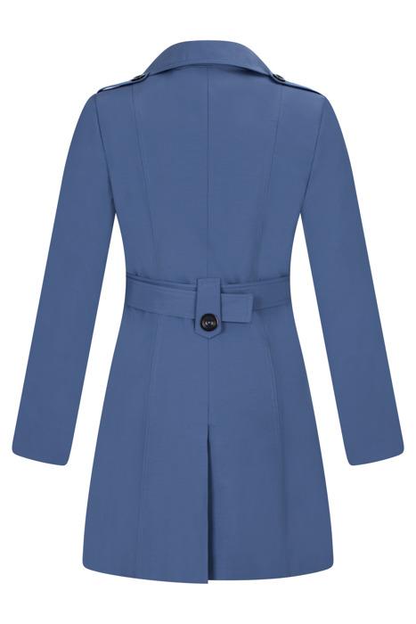 Płaszcz prochowiec AnMar niebieski jednorzędowy na guziki z paskiem