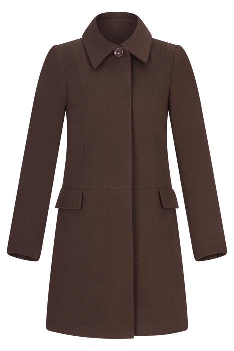 Płaszcz zimowy Caro Fashion 001 czekoladowy z kołnierzykiem wełna