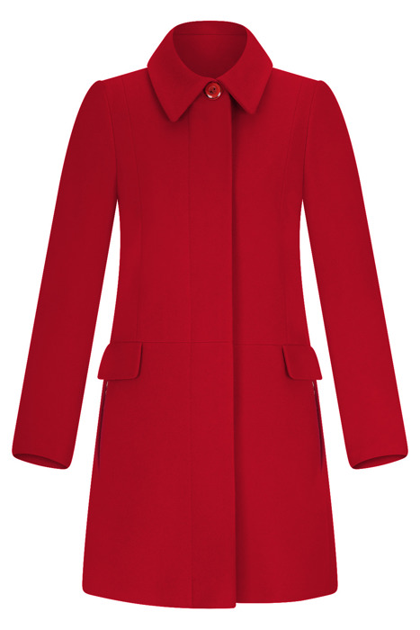 Płaszcz zimowy Caro Fashion 001 czerwony z kołnierzykiem wełna