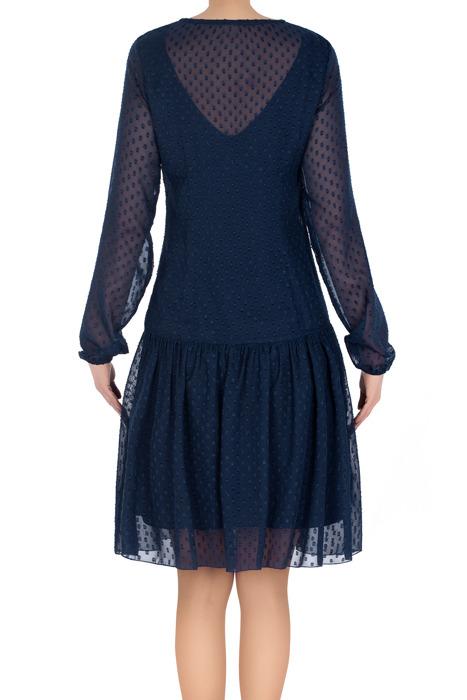 Stylowa sukienka Judyta I granatowa w kropki 3194