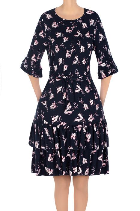 Stylowa sukienka damska granatowa w różowy wzór 3203