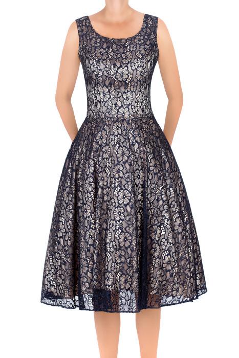 Sukienka Cller granatowa rozkloszowana koronkowa