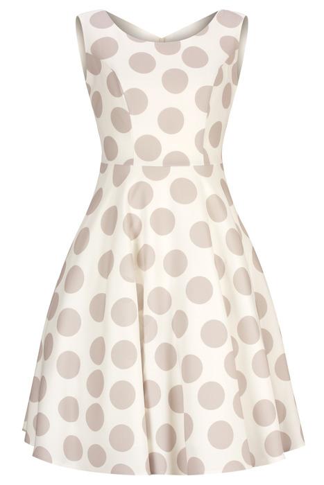 Sukienka Cller rozkloszowania ecru w beżowe grochy pin-up