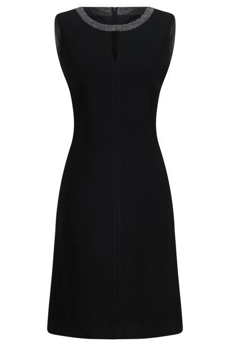 Sukienka Dagon 1980 czarna ze srebrną obwódką przy szyi