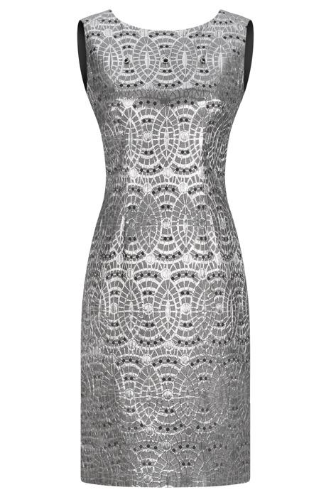 Sukienka Dagon 2273 szaro-srebrna w geometryczne wytłaczane wzory