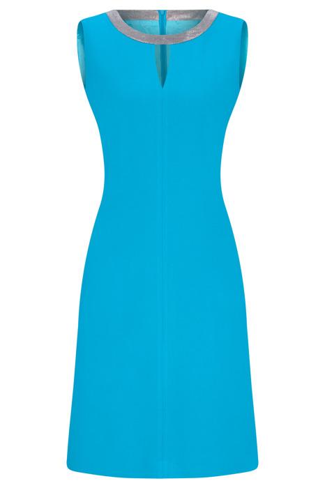 Sukienka Dagon 2299 jasny lazurowy z obwódką przy szyi
