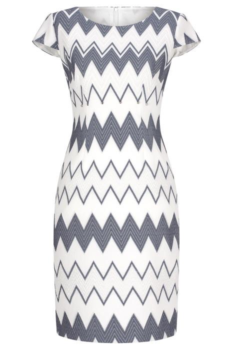 Sukienka Dagon 2410 biało-szara ze srebrną nitką w geometryczny wzór
