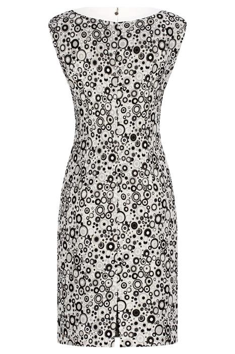 Sukienka Dagon 2426 szara w geometryczne wzory