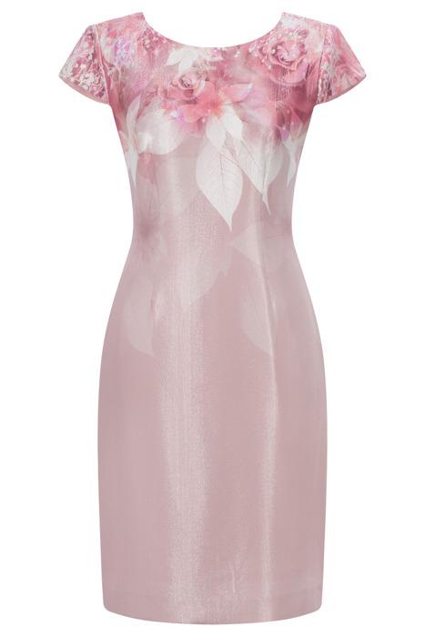 Sukienka Dagon 2563 różowa w kwiaty