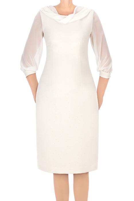 Sukienka Dagon 2572 ecru z tiulowymi rękawami
