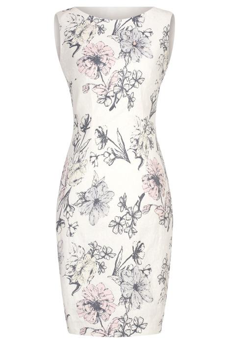 Sukienka Dagon 2587 ecru w kwiaty z bawełną