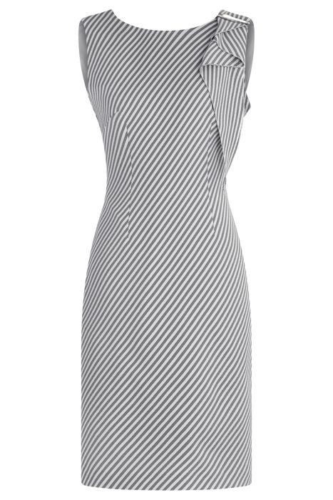 Sukienka Dagon 2596 szara w pasy wyszczuplająca