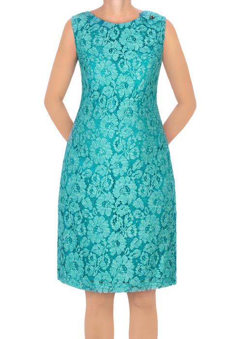 Sukienka Dagon 2629 koronkowa zielona z bawełną