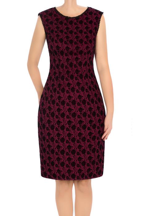 Sukienka Dagon 2750 bordowa w czarne kwiaty