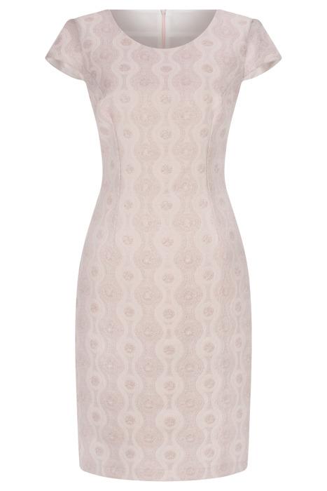 Sukienka Dorota blady róż w geometryczne wzory