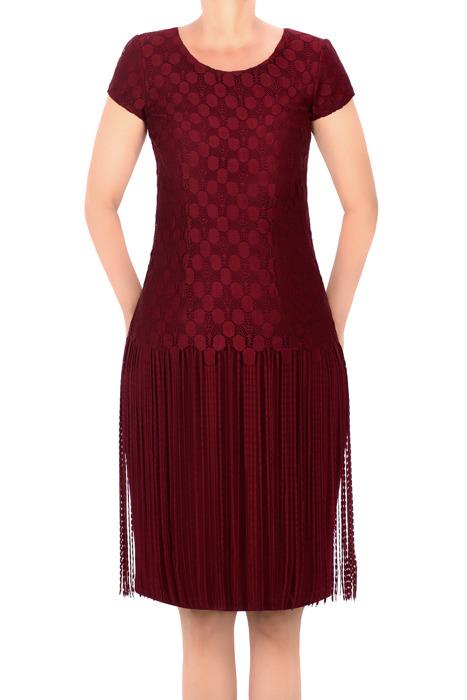 Sukienka J.S.A. Paula bordowa z frędzlami