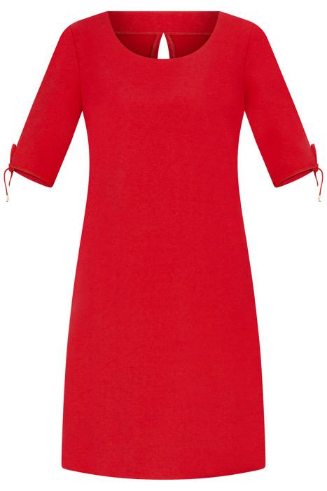 Sukienka Kama III czerwona z wiązanym rękawem