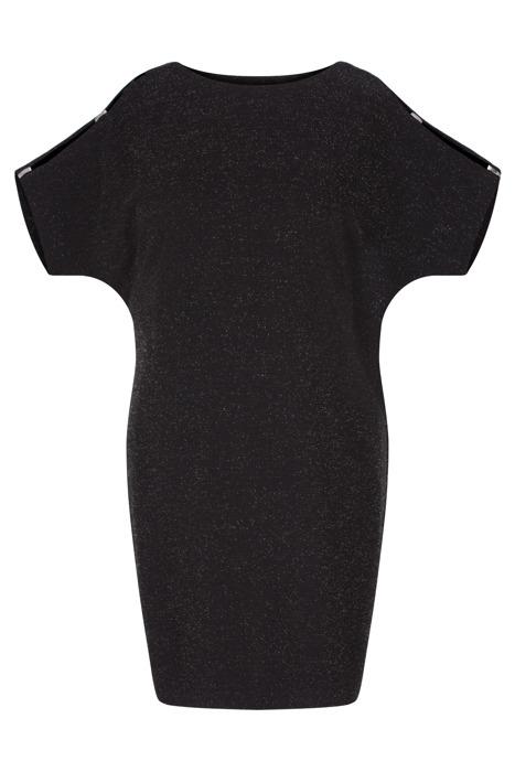Sukienka Kasia I czarna ze srebrną nitką w stylu nietoperz
