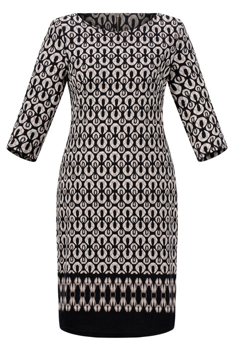 Sukienka Kolor dzianinowa, codzienna, do pracy czarna we wzory