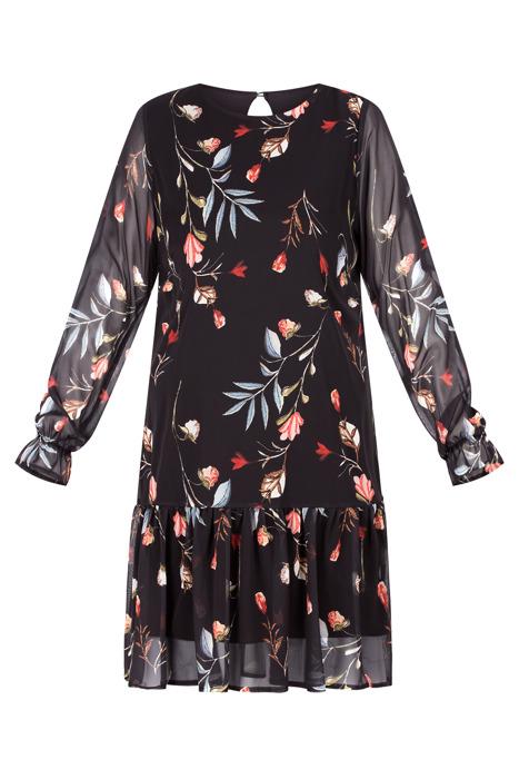 Sukienka Marisa prosty fason czarna w kwiaty z falbanką