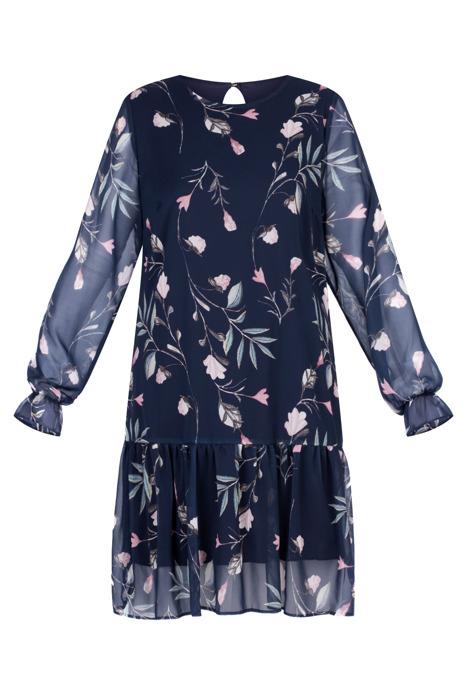 Sukienka Marisa prosty fason granatowa w kwiaty z falbanką