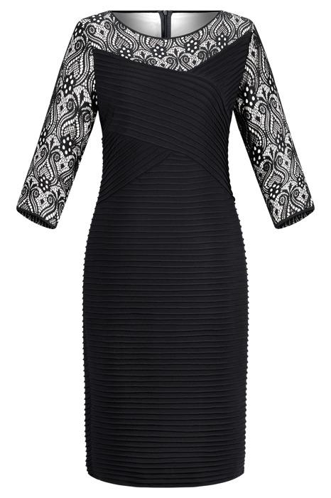 Sukienka R170DR czarna z dodatkiem koronki