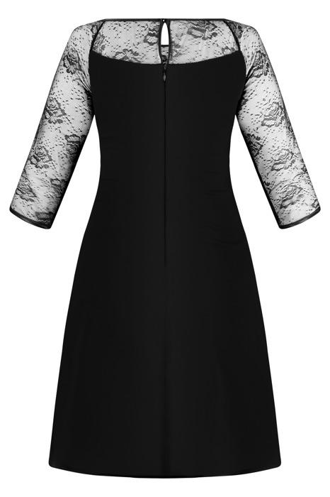 Sukienka Trynite TK-24 czarna z koronkowym rękawem