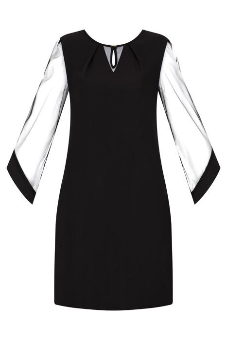 Sukienka Trynite TK-81A czarna tiulowy rękaw