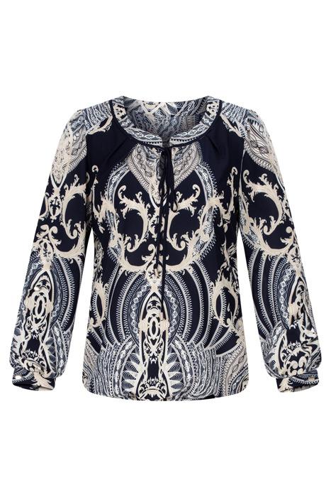 Wizytowa bluzka damska Mercedes I granatowa w ornamentowym wzorze