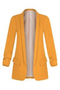 Długi żółty żakiet z drapowanymi rękawami