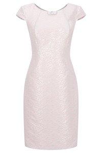 Sukienka Dagon 2195 różowa w srebrne wzory