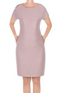 Sukienka J.S.A. Kasia różowa ze srebrną nitką z pęknięciem na ramieniu
