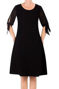 Zwiewna sukienka Żan-Mar trapezowa czarna