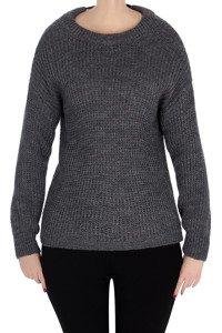 Sweter 3059 z łezką wiązany z tyłu grafitowy